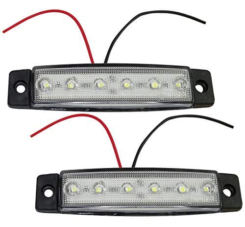 Aerzetix C41128-2 luci di ingombro a 6 LED, 12 V, 97/21 mm, Colore: Bianco