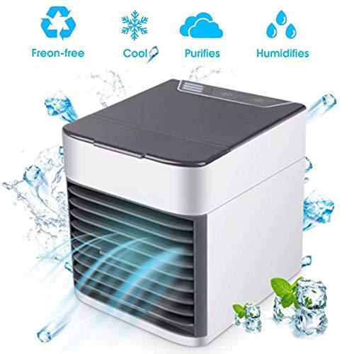 Condizionatore Portatile,Air Cooler 3-in-1 Mini Raffrescatore Evaporativo Umidificatore Purificatore D'aria USB Climatizzatore con Raffreddamento ad Acqua per Casa/Ufficio