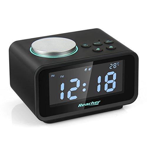 Reacher Radiosveglia FM Digitale con Doppio Allarme, orologio da comodino con display LCD...