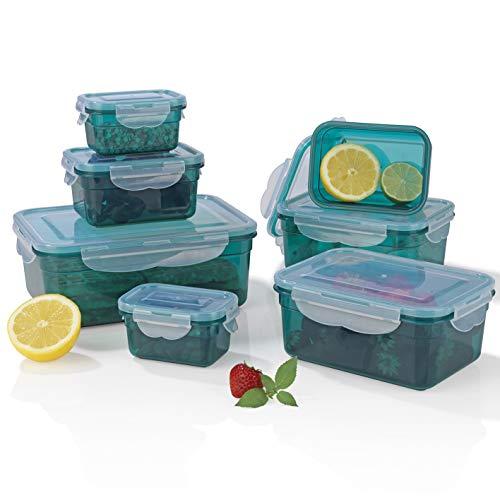 Gourmetmaxx 02914 Contenitori  klick-it  | Adatto a microonde, congelatore e lavastoviglie | BPA-Free | 14 Parti | Verde Smeraldo, Plastica Senza, 0 Inches