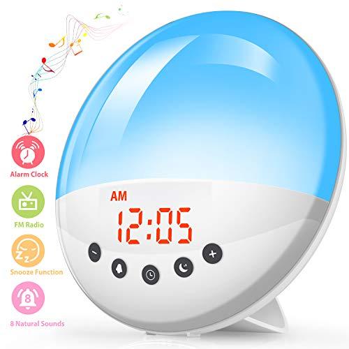 Wake Up Licht Lichtwecker, AODOOR Lichtwecker Radio Wecker Kinder Nachtlicht LED Nachttischlampe mit Alarme/Snooze/Schlafhilfe/Sonnenaufgang/8 Wecktöne/FM Radio, 20 Lichthelligkeiten