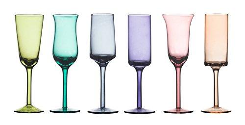 BITOSSI Diseguale Set 6 Bicchieri Grappa, 5 cm