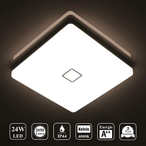Deckenlampe LED Deckenleuchte Wasserdicht Lampe Decke Moderne Quadratische Dünne 24W 2050LM IP44 4000K Neutralweiß Öuesen Deckenlampe Badezimmer Küche Schlafzimmer Bad Wohnzimmer Esszimmer Balkon