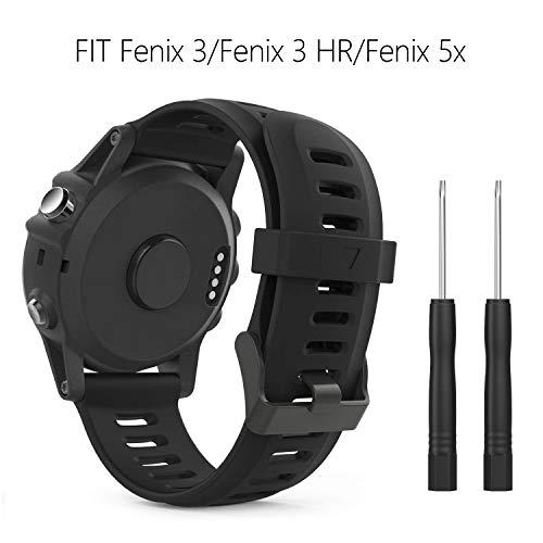 kitway Garmin Fenix 3/Fenix 5X Cinturino Bracciale, Morbido Cinturino di Ricambio in Silicone per Garmin Fenix 3/Fenix 3 HR GPS/Fenix 5X Smart Watch (Non per Fenix 5)