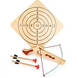 5036 Balestra sportiva compatta small foot in legno, incl. bersaglio e due frecce, articolo sportivo