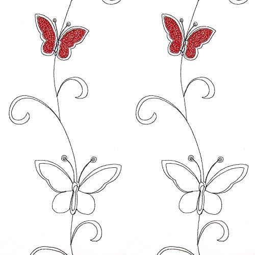 Top Finel bordado mariposa gasa cortina de ventana sheer paneles de cortina para salón, arandelas, solo panel, poliéster, mariposa roja, 140 x 245 cm