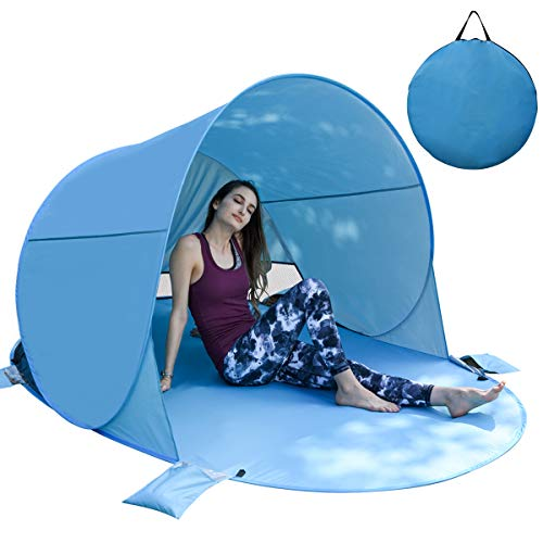 BACKTURE Tenda da Spiaggia, Tende Familiari Pop Up Portatile Anti UV 50+ per 3-5 Persone, 220 * 145...