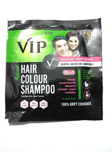 VIP Hair Color Shampoo 20ml Black (Pack of 5)