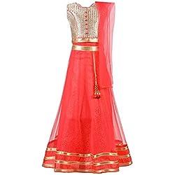 Aarika Girls' A-Line Maxi Dress (LCH-8743_Pink_7-8 Years)