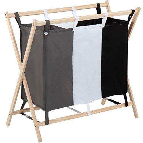 Jago Wäschesortierer   mit 3 Fächern, aus Holz, dreifarbig, ca. 120 l Volumen, Größe (L/B/H): 85/43/81cm   Wäschekorb, Wäschebox, Wäschesammler