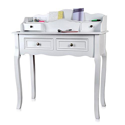 Schreibtisch antik im Landhaus Stil in weiß 87,5x40x102 cm (BxTxH)