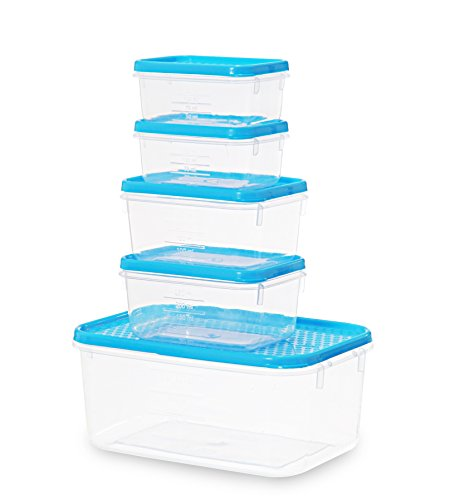 All Time Plastics Polka Container Set, 1.75 Liters, 5-Pieces, Blue