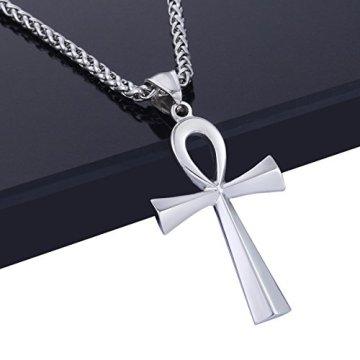 Trendsmax Hombres Mujeres Unisex Tono De Plata De Acero Inoxidable Egipcio Ankh Cruz De La Vida Egipto Símbolo Colgante Collar 12