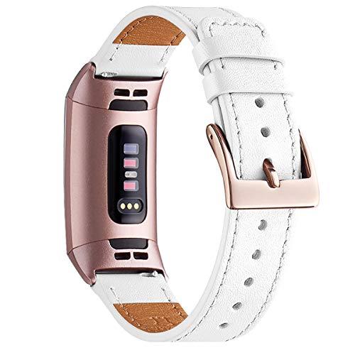 WFEAGL Cinturino Compatibile per Fitbit Charge 3 Cinturini in Pelle, Cinturini Classico Sportivo di Ricambio Regolabile Regolabile per Uomo Donna(Fumo Viola+Adattatore Oro Rosa)