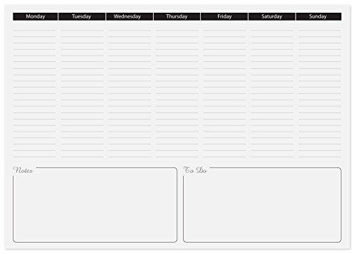 Blocco da scrivania con agenda settimanale formato a3 - Agenda da tavolo settimanale ...