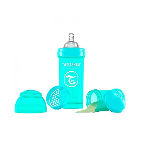 Twistshake Biberón anticólicos con mezclador - Turquesa - Talla:260 ml