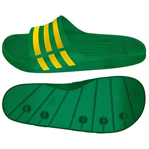 adidas–Duramo Slide–Mules Nuoto–Unisex Adulto, Verde (Verde/Giallo), 42 EU