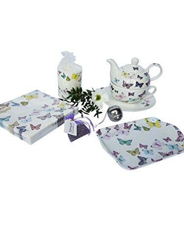 Té Para Uno SET DE REGALO PARA ELLA CON A JUEGO ACCESORIOS Diseño Mariposa porcelana fina