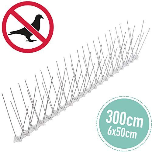 3 Meter Taubenabwehr: Vogelspikes/Vogelgitter als Taubenschreck und Vogelschutz - tierschutzkonform 4-reihig