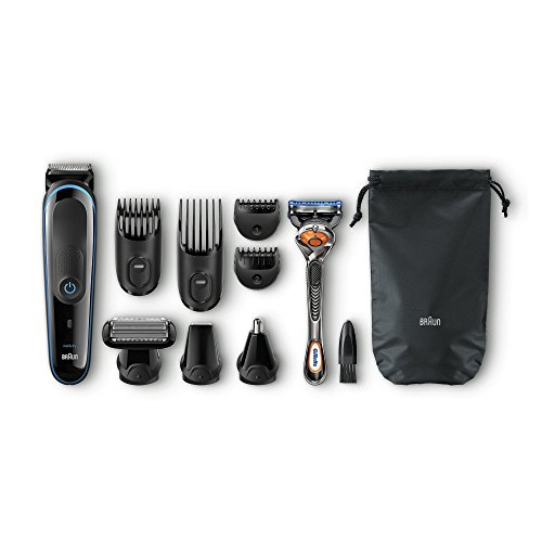 Braun MGK3080 MultiGrooming Kit Rifinitore di Precisione Regolabarba 9 in 1 per lo Styling di Barba Corpo e Capelli, Nero/Blu