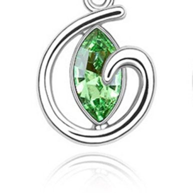 Frau-Mode-Schmuck-Ohr-Clip-on-Ohrringe-Seltsame-Liebe-Herz-Grn-Mit-Swarovski-Elements-Kristall