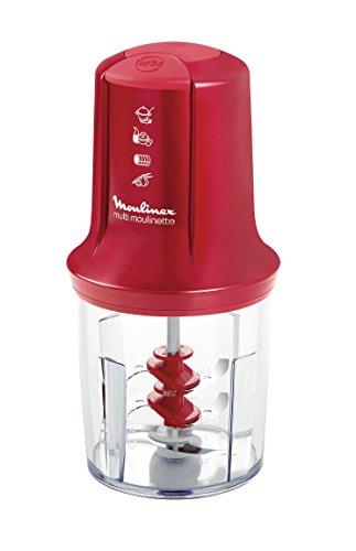Moulinex Multimoulinette AT714G32 - Picadora (500 W, 3 cuchillas, 0.5 l de capacidad), color rojo rubí