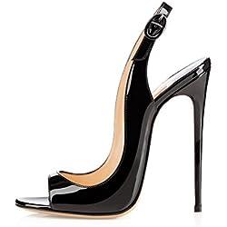 EDEFS Femmes Artisan Fashion Sandales Décolletés Bout Ouverts Chaussures à Talon Haut de 120mm Noir EU39
