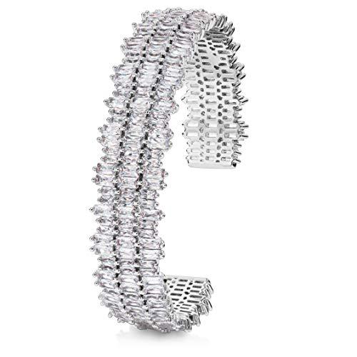 Splendido bracciale firmato Monte Carlo: bracciale da donna di lusso di Pure Bijoux con 237 diamanti simulati - Bracciale in rame placcato oro bianco (16)