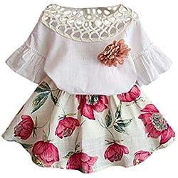 Voberry Girl's New Pretty Summer Short Sleeve Shirt+Flower Skirt Dress Outfits Sets