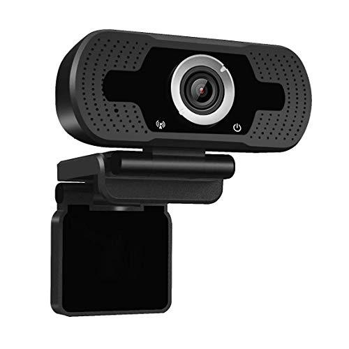 Dericam 1080P Full HD Live Streaming Webcam, Webcam USB Desktop e Laptop, Mini Plug And Play Videocamera per videochiamate, Microfono Incorporato, Clip Girevole Flessibile, W2, Nero