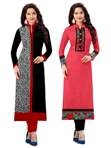 Platinum Women's Cotton Blend Material Pack Of 2 Kurti (Plt 1702_Multicolor_Free Size, Semi-Stitched )