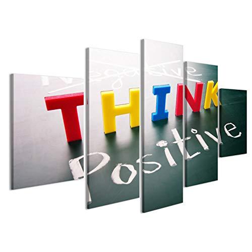 Quadro moderno Pensare positivo pensare, parole colorate, non negative positive sulla lavagna Stampa...