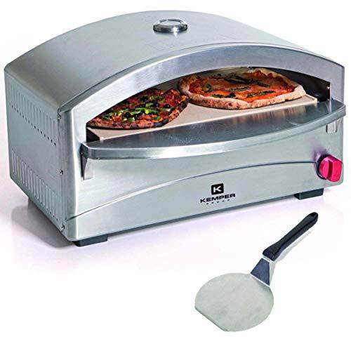 Forno per pizze a gas, con cottura su pietre refrattarie, indicato anche per barbecue, struttura in...