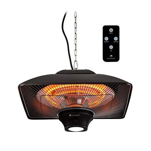 blumfeldt Heat Square • Infrarot-Heizstrahler mit Fernbedienung • Terrassen-Heizstrahler • 800/1200/2000 Watt • IR ComfortHeat Technologie • LED • schwarz