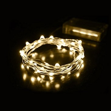 2M 20 LED Guirlandes Lumineuses à Piles Exterieur Étanche Fil De Cuivre Chaine De Lampes Décoration de Noël Jardin Bas Balcon Maison Festival Marriage