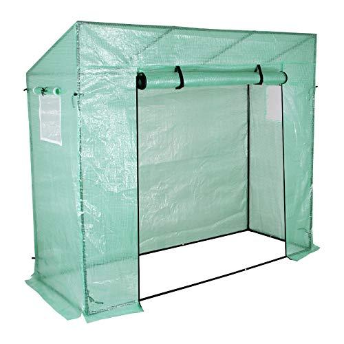 Yorbay Foliengewächshaus Gewächshaus für Tomaten, mit Gitternetzfolie und Fernster für Garten zur Aufzucht, Schrägdach, Grün, 200 x 80 x 173/143cm (LxBxH)