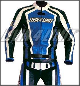 Monos de moto 4LIMIT Sports Cuero, Azul/ Negro / Blanco