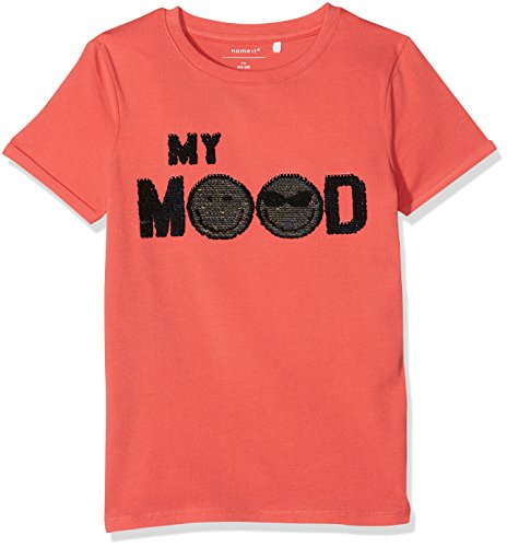 NAME IT Jungen T/Shirt Nkmicon Tinko SS Slim Top Lic, Orange (Spiced Coral), 158/164