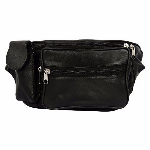 Redix trendy Mens Ladies Black genuine leather Waist bag bum bag fanny pack travel money belt ID card wallet phone Bag