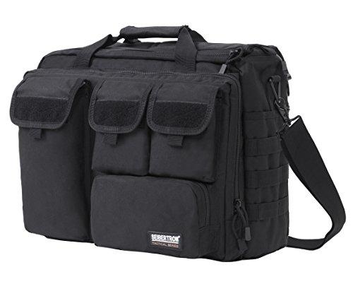 Seibertron Pro-Multifunktions Damen Herren militärische Taktische Tactical Außen Umhängetasche Schultertasche Messenger Bag Handtaschen-Aktenkoffer Notebook Pack für 17,3Zoll Laptop Computer Black