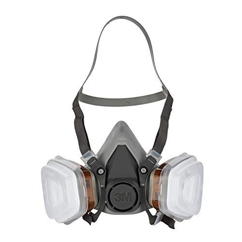 3M Mehrweg-Halbmaske 6002C – Halbmaske mit Wechselfiltern gegen organische Gase, Dämpfe & Partikel – Für Farbspritz- und Maschinenschleifarbeiten