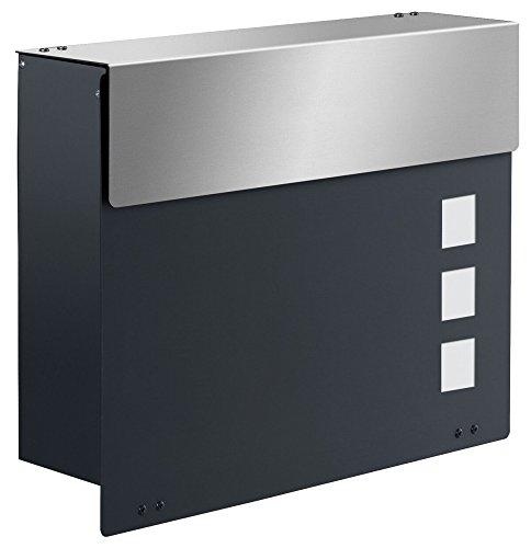 Frabox ARLON EXKLUSIV Design Briefkasten Anthrazitgrau / Edelstahl