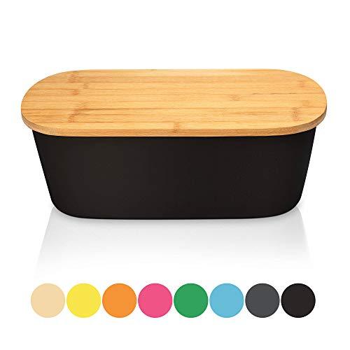 Bambuswald Brotbox mit integriertem Schneidebrett 38x21,5x12 cm - Brotdose | Brotkasten für Croissants, Brot o. Brötchen | Brotbehälter mit Küchenbrett | Brotbrett Schwarz