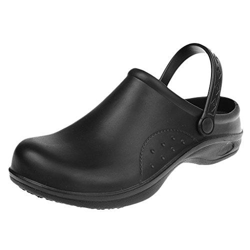 MagiDeal Zapatos de Enfermería de Cocinero de Mujeres Hombres Plástico Resistente al Agua Reduce Fatiga de Pie 2 Colores - Negro, 38