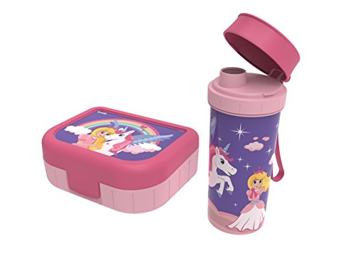 "Rotho Memory Kids Set Brotdose/Vesperdose mit Trinkflasche , Kunststoff (BPA-frei), rosa mit Motiv \""Einhorn + Prinzessin\"", 2er Set"