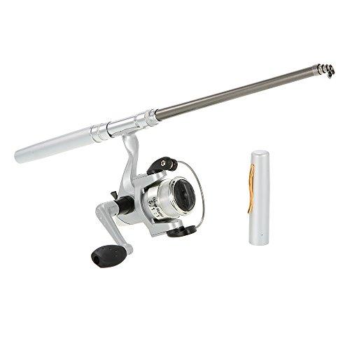 Docooler Alluminio Mini Tasca Penna Canna da Pesca + Mulinello