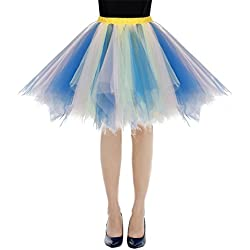 Bbonlinedress Faldas con Vuelo Tul Mujer Enaguas Cortas Mini Ballet Danza Fiesta Blue-Champagne M