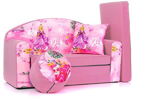 Divano divanetto bambini e cuscino e puff mini divano transformabile in lettino ((1SG) PINK...