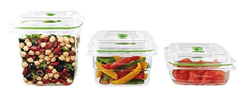 FoodSaver Set di 3 Contenitori Salva Freschezza Sottovuoto, 1 da 700 ml, 1 da 1.2 Litri e 1 da 1.8 Litri, BPA Free, Indicatore del Vuoto, Trasparente