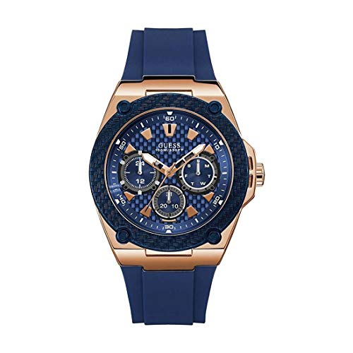 GUESS Men's Legacy 45mm Blue Silicone Band Steel Case Quartz Watch W1049G2